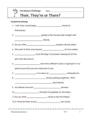 There Their And They Re Worksheets by Their There Or They Re Worksheets