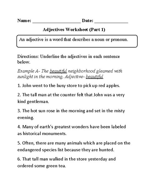 printable worksheets nouns verbs adjectives 15 best images of nouns and adjectives worksheets