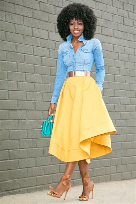 Fashion Pantry by Fitted Denim Shirt Waves Midi Skirt Style Pantry