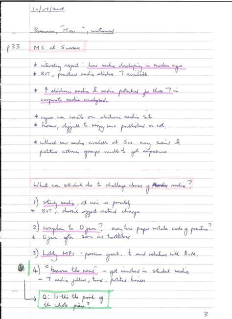 pattern note making method note making styles skills hub university of sussex