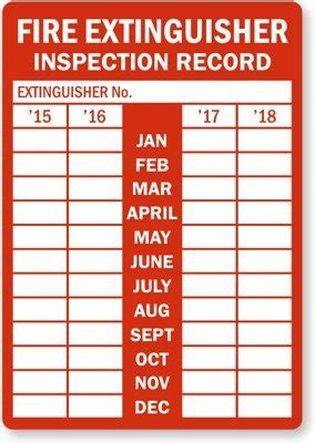 printable fire extinguisher tags fire extinguisher inspection record from year 2015 to