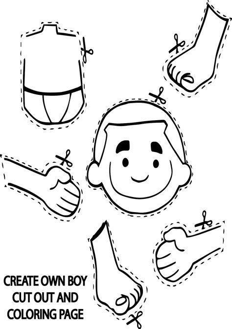 create own boy cut out coloring page wecoloringpage