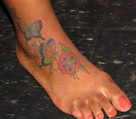 butterfly foot tattoo flower and butterfly tattoos on foot ksiqno