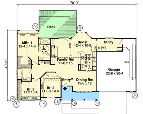 handicap home plans handicap accessible ranch home plan 1161g