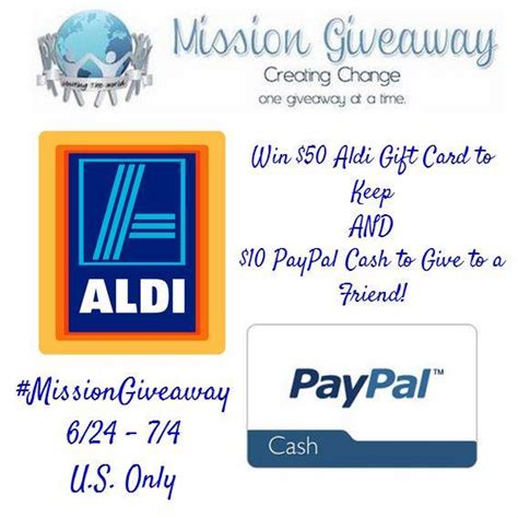 Aldi Gift Cards Online - win aldi 50 gc and 10 paypal cash with missiongiveaway my dairyfree glutenfree life