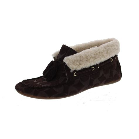 coach slipper shoes coach cora brown signature suede moccasin slippers shoes 9