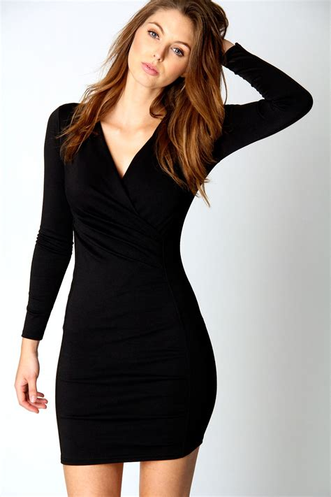 Sleeve V Neck Dress boohoo megan v neck sleeve wrap dress in black