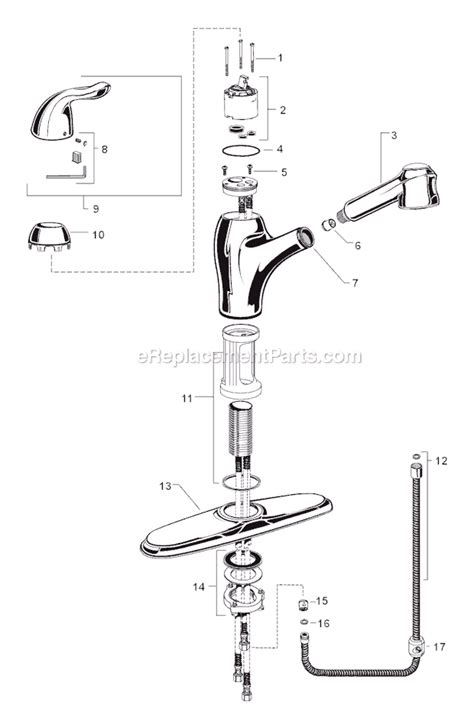 american standard kitchen faucet parts american standard 4114 100 parts list and diagram ereplacementparts
