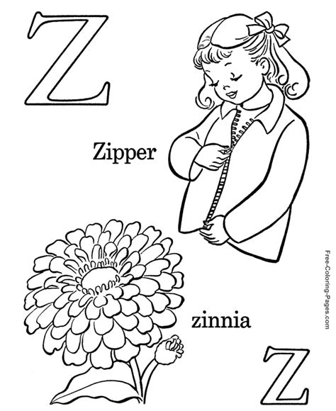 coloring page zipper alphabet coloring pages z is for zipper