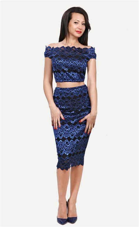 vintage lace bodycon crop top pencil skirt set
