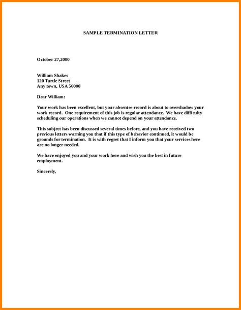 Termination Letter Templates by 8 Employee Release Letter Sle Mail Clerked