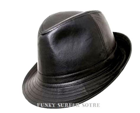 mens womens trilby hats mens black leather look trilby