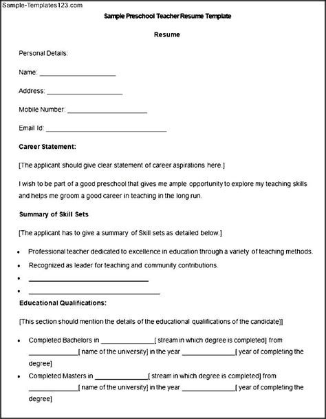 Resume Sle For Preschool religious education resume sales lewesmr