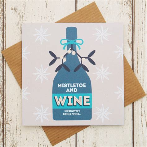 Gift Card Winery - mistletoe and wine funny christmas card by paper plane notonthehighstreet com