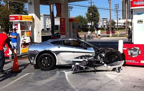 corvette crashes chromed out corvette c7 crashes into gas station