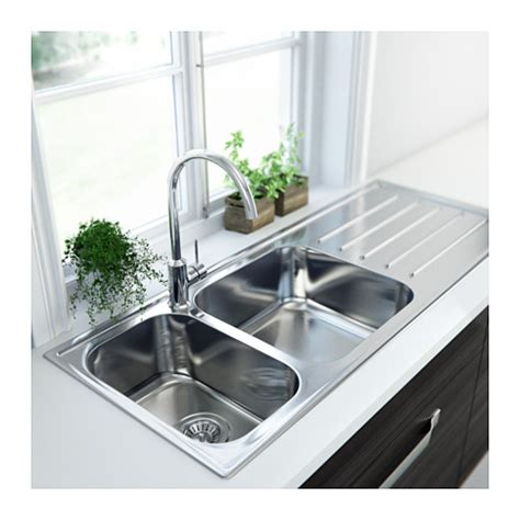 boholmen 2 bowl inset sink with drainer stainless steel