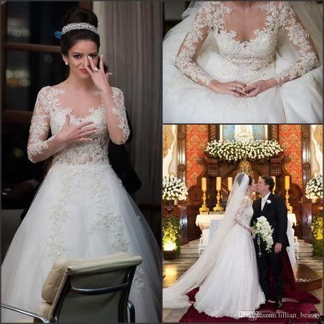 Lace Long Sleeve Wedding Dresses 2018 Lace Applique