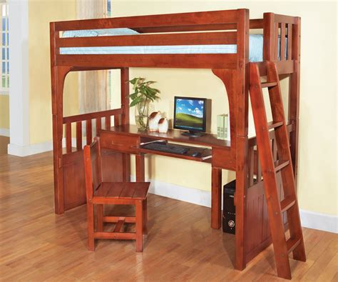 Rustic Brown Lacquered Oak Wood Loft Bed With Computer Bunk Bed With Computer Desk