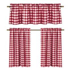 Sheer Tier Curtains Wine Red White Gingham Checkered Plaid Kitchen Curtain Set