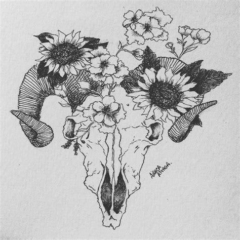 Skull And Flower skull and flower drawing www pixshark images