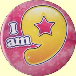 9th birthday badge pink star party wizard