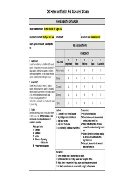 ohs risk assessment form 2 free templates in pdf word