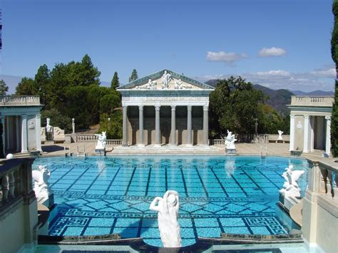 night view of roman style swimming pool with deck jets file hearst castle roman pool jpg