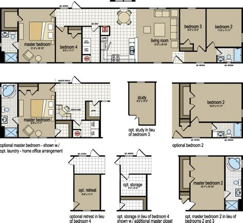 2 bedroom 1 bath mobile home floor plans 4 bedroom 2 bath single wide mobile home floor plans