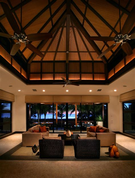 tropical living room with high ceiling ceiling fan in 5 design ideas for high ceilings balsam hill artificial