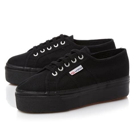 superga flatform lace up shoes in black lyst