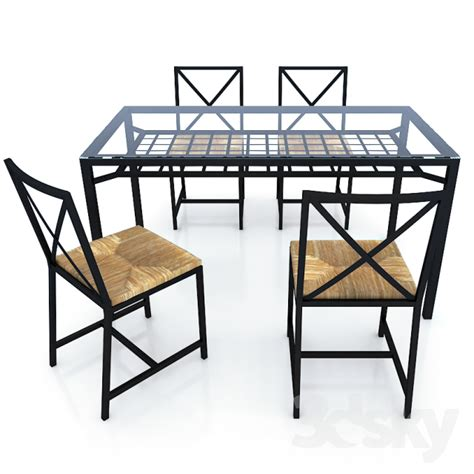 Ikea Glass Dining Table And 4 Chairs 3d Models Table Chair Ikea Granas Table Table Granos