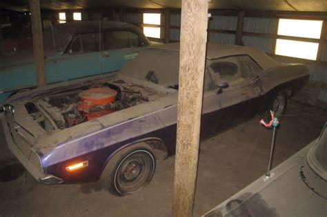 One Car Garage plum crazy challenger convertible barn find