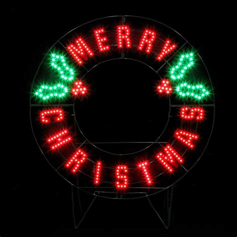 32 inch red and green led merry christmas sign stein s garden home santas best led quot merry quot wreath 40 inches