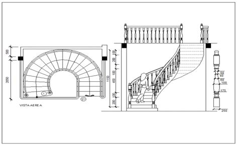 semi spiral type stairway detail view dwg file