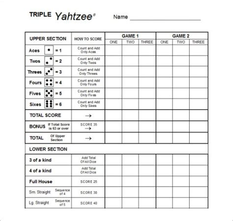 free printable yahtzee score sheets card calendar