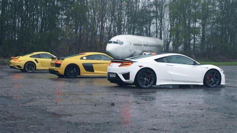 audi r8 vs porsche 911 turbo chris harris drives honda nsx vs audi r8 v10 vs porsche
