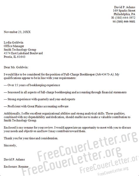 full charge bookkeeper cover letter sle