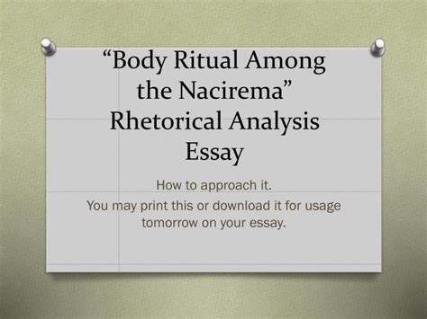 Among The Essay by Ppt Ritual Among The Nacirema Rhetorical Analysis Essay Powerpoint Presentation Id