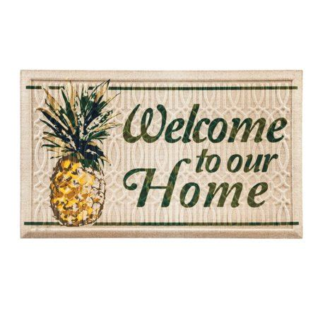 Welcome To Our Home Doormat - evergreen flag welcome to our home pineapple embossed mat