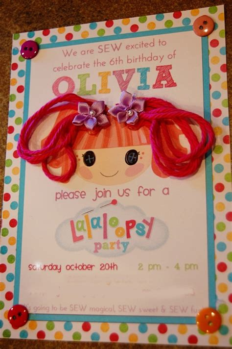 lalaloopsy birthday invitations party invitations ideas the princess diaries olivia s lalaloopsy party