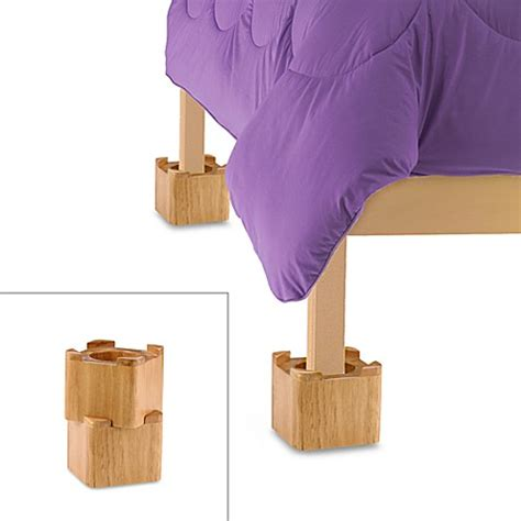 bed bath beyond bed risers blond wooden bed lifts set of 4 bed bath beyond