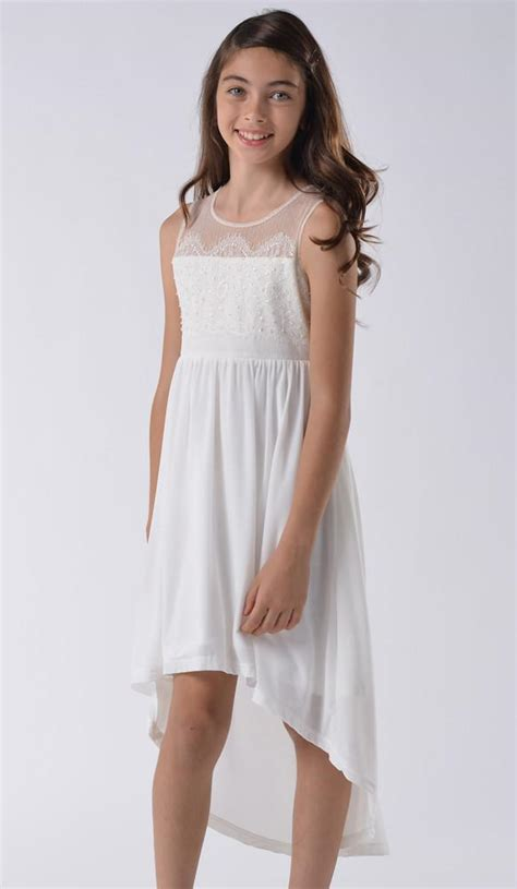 angels girl teen tween model blush by us angels lace illusion dress in light ivory for
