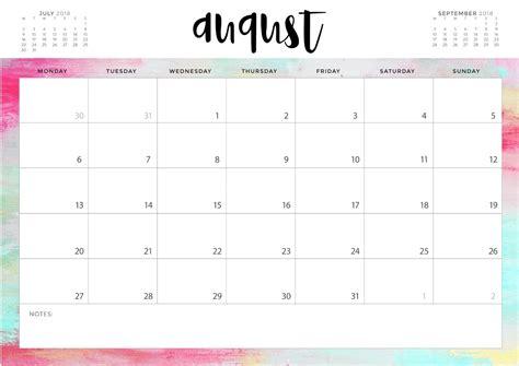 August 2018 Blank Calendar Templates Calendar 2018 Writable Calendar Template