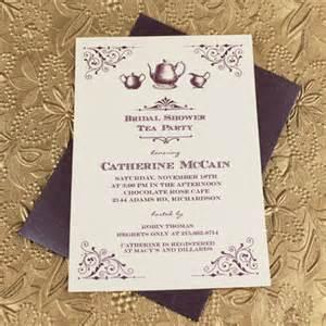 vintage bridal shower tea invitation template print