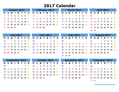 2017 Calendar With Holidays Printable 2017 Calendar Printable With Holidays Calendar Free