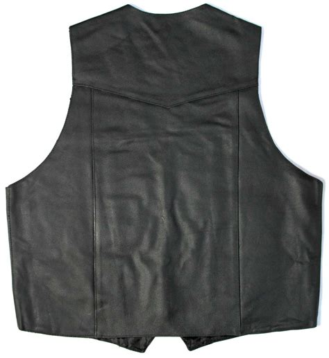 Plain Black Leather Motorcycle Riding Vest Leather Vest