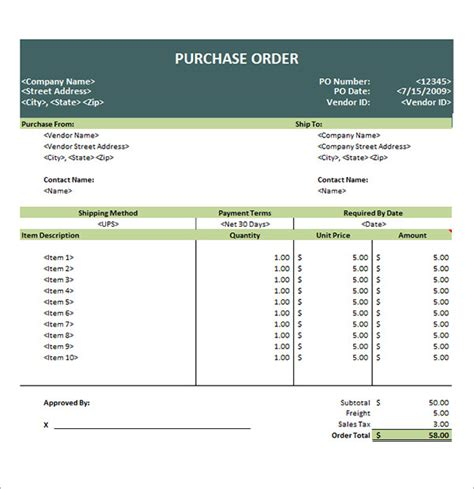purchase order template 14 download free documents in