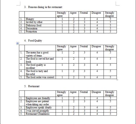 restaurant questionnaire template restaurant survey questions exle of question types