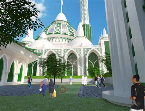 desain sepeda masjid medan l masjid agung medan l 2 menara l 199 meter l gedung