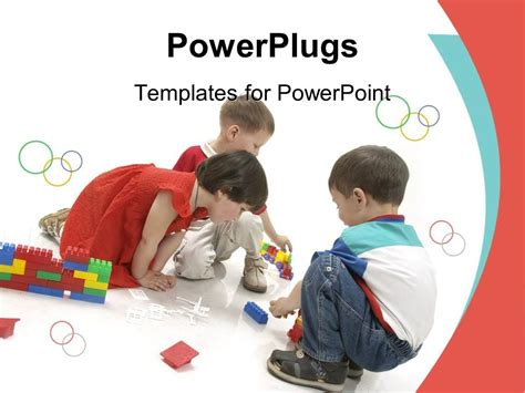 Powerpoint Template Boys And Girl Building With Blocks Children Kids Play Child Care 18216 Free Child Care Powerpoint Templates